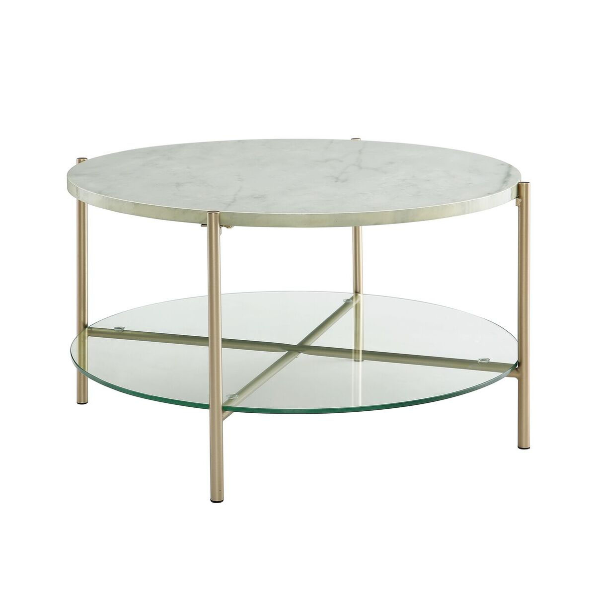 "Marble Glass Top Coffee Table: WE Furniture 32"" Round Coffee Table White Marble Top"