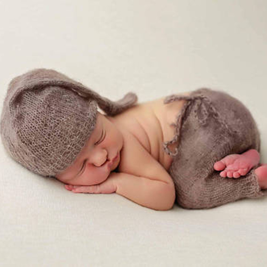 2018 New products boy photo shoot clothes mohair brown hat and pants Newborn photography props hand-woven baby gifts