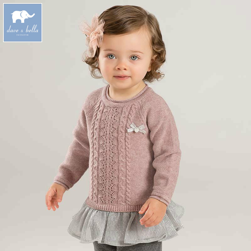 DB8844 dave bella autumn with ruffles sweater infant baby girls long sleeve pullover kids toddler tops children knitted sweater недорго, оригинальная цена