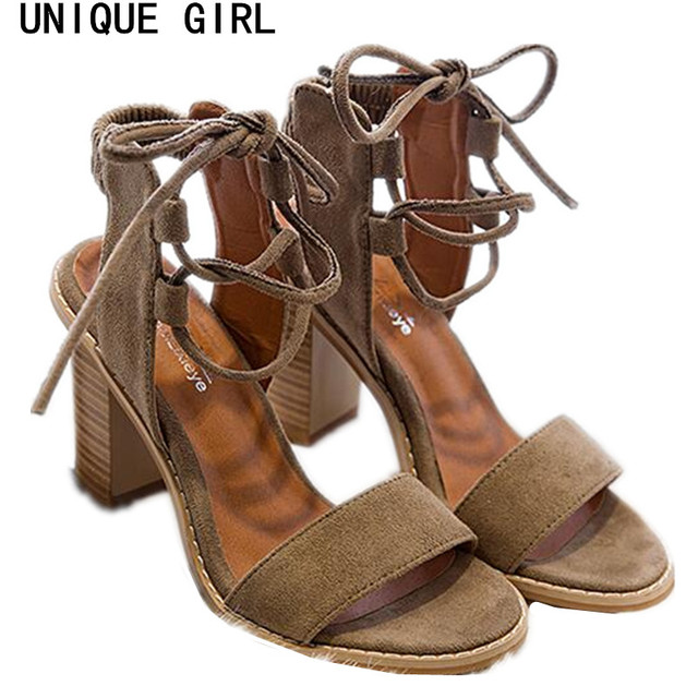 cb9f3290477 US $12.93  UNIQUE GIRL 2017 Sexy Women Pumps Open Toe Lace up Heels Sandals  Woman sandals Thick with Women Shoes women High heels-in Women's Sandals ...