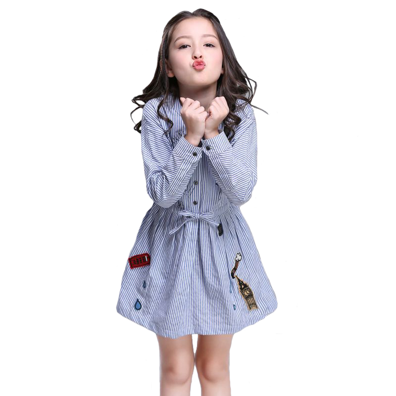 2018 Summer Girls Dress Baby Cotton Costume Long Sleeve Striped Graffiti Embroidery Vestido for Children Dresses Clothing 4y-10y цены онлайн