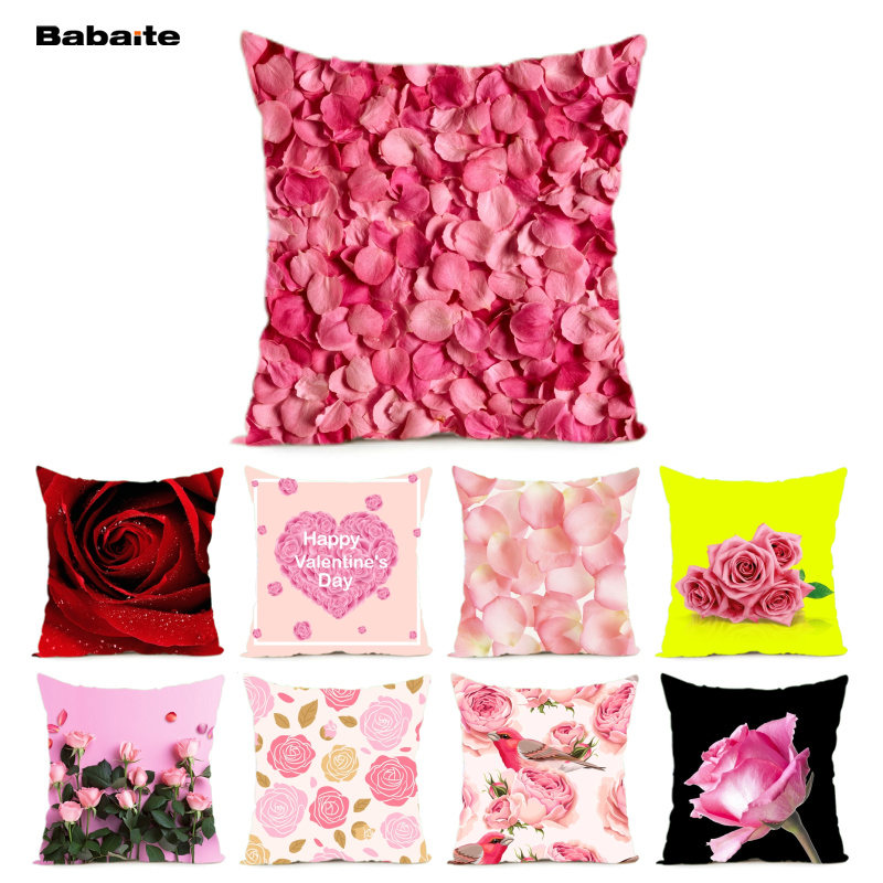 Babaite Pink Red Rose Petal Happy Valentine Day Home Decoration Cushion Cover 2 Sides Printing Throw Pillow Cover Hiddern Zipper