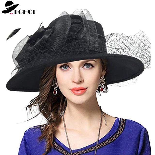 590762472f2 FGHGF Women Fascinators Wide Brim Wool Felt Hat Cocktail Party Wedding  Fedora Hats Dress Church Hat Plumy Felt Floppy Winter Hat