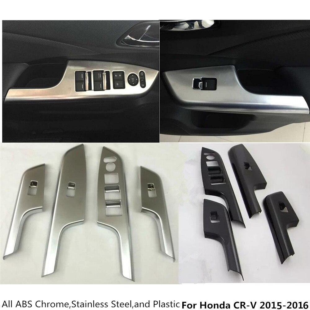 free shipping For Honda CRV CR-V 2015 2016 ABS chrome door Window glass panel Armrest Lift Switch Button trim frame 4pcs ветровик rein для honda cr v iii 2006 2012 кроссовер на накладной скотч 3м 4 шт