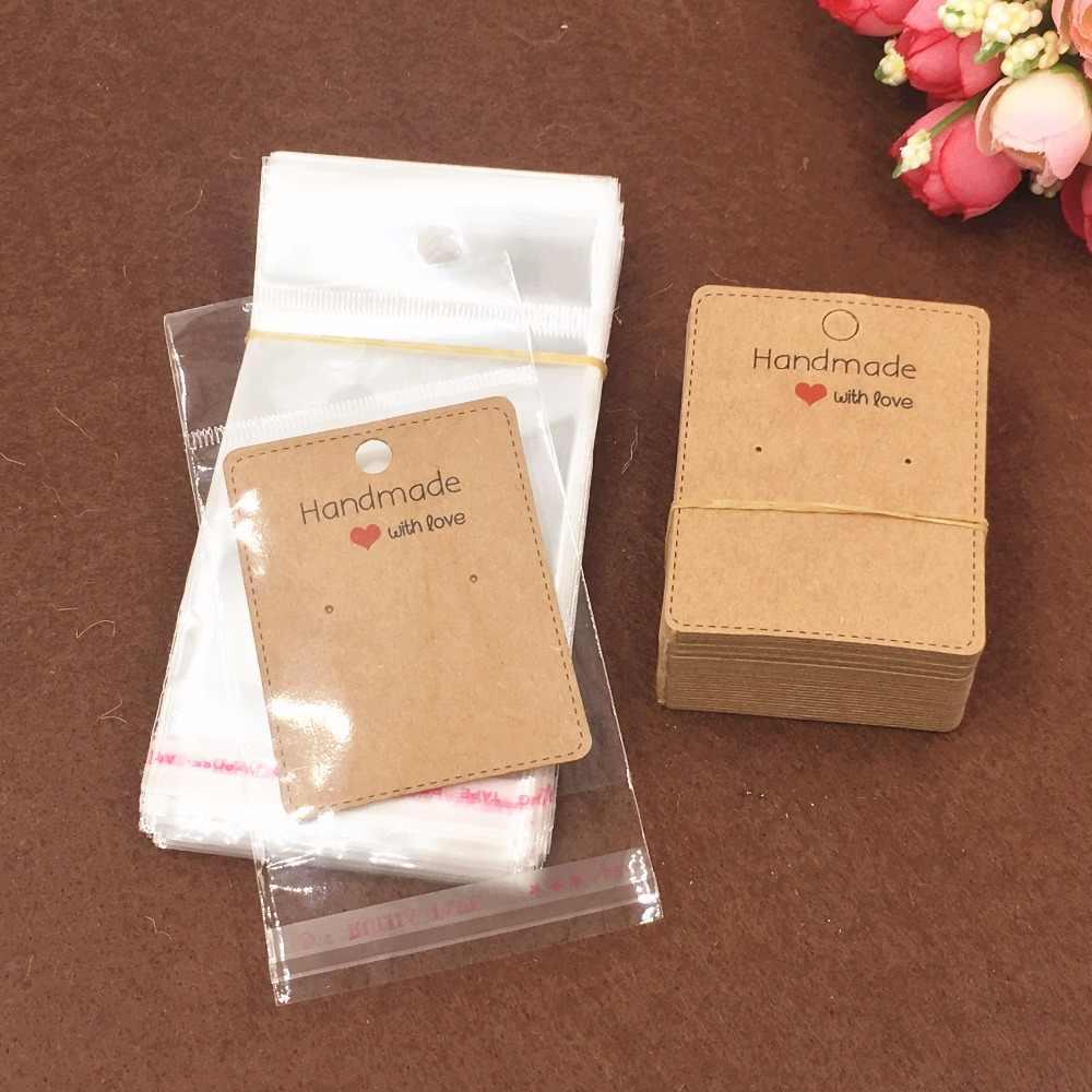 200pcs Kraft Earring Cards Opp Bags Paper Jewelry Brown Handmade Displays Fashion Love Gift Earcard