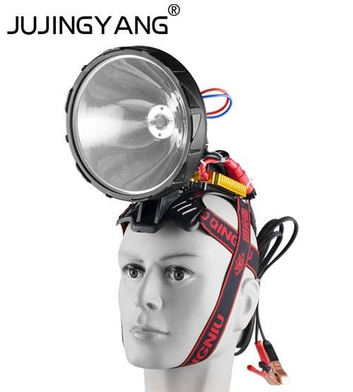 Super bright waterproof Portable head Spotlight Xenon 12V 220W HID headlamp fot hunting,camping-in Portable Spotlights from Lights & Lighting