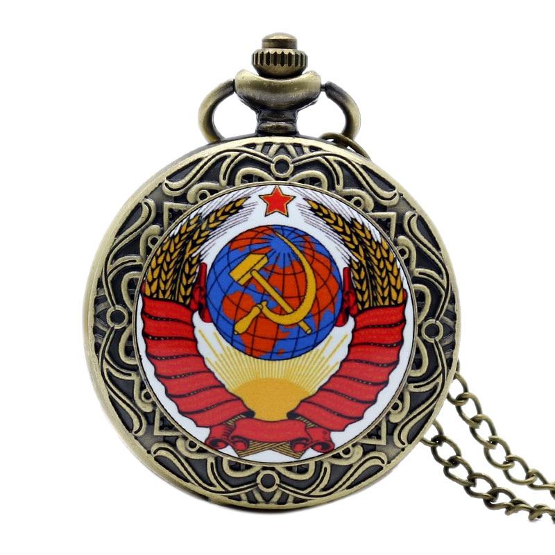 Купить с кэшбэком Retro USSR Soviet Badges Sickle Hammer Style Quartz Pocket Watch CCCP Russia Emblem Communism Unisex Necklace Chain Hours Clock