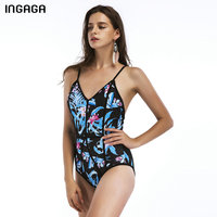 INGAGA 2018 New Tropical One Piece Swimsuit Sexy Swimwear Women Strap Padded Bathing Suits Open Back