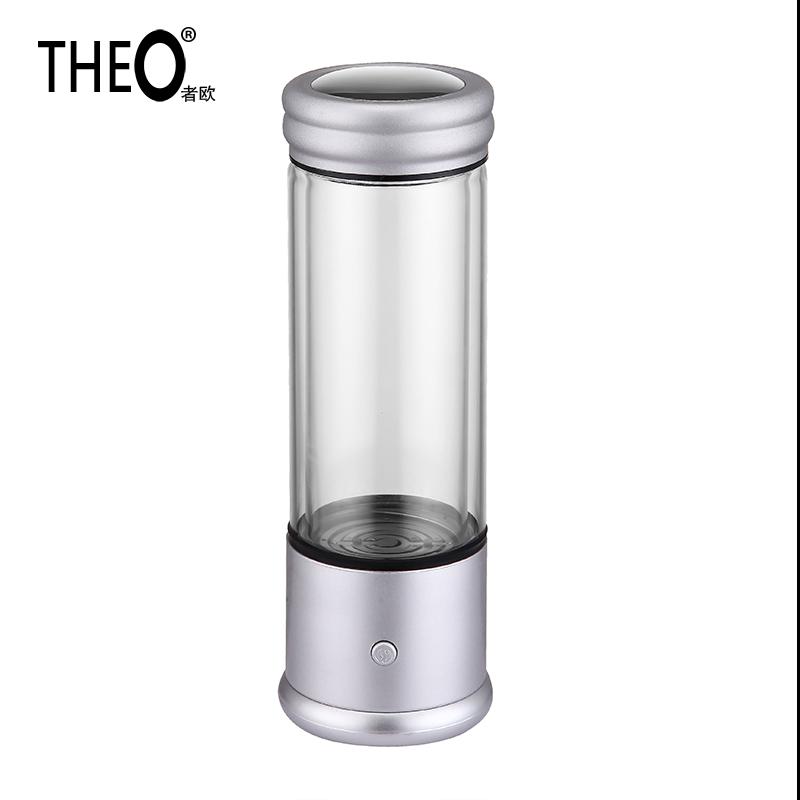 Theo Protable health and beauty cups High Concentration Hydrogen Rich Cup Water Electrolysis Ionizer Glass 350ml silverHQT-V8A02