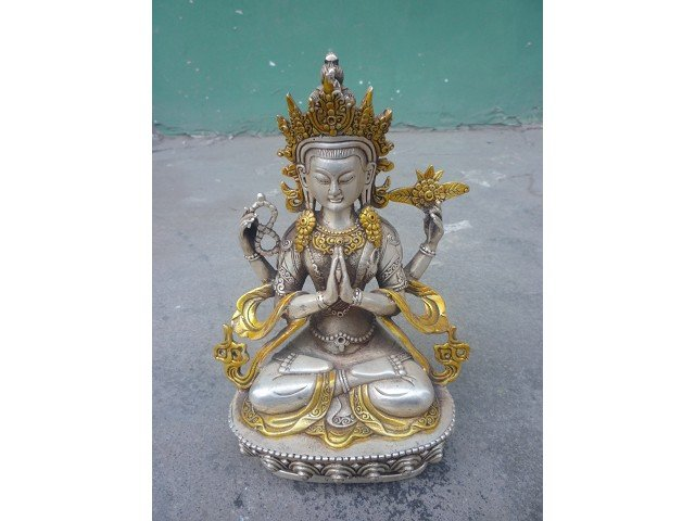 Collectable Old QingDynasty Silver gold-plating Green Tara Sculpture/ Statue,good carving, best collection&adornmentCollectable Old QingDynasty Silver gold-plating Green Tara Sculpture/ Statue,good carving, best collection&adornment