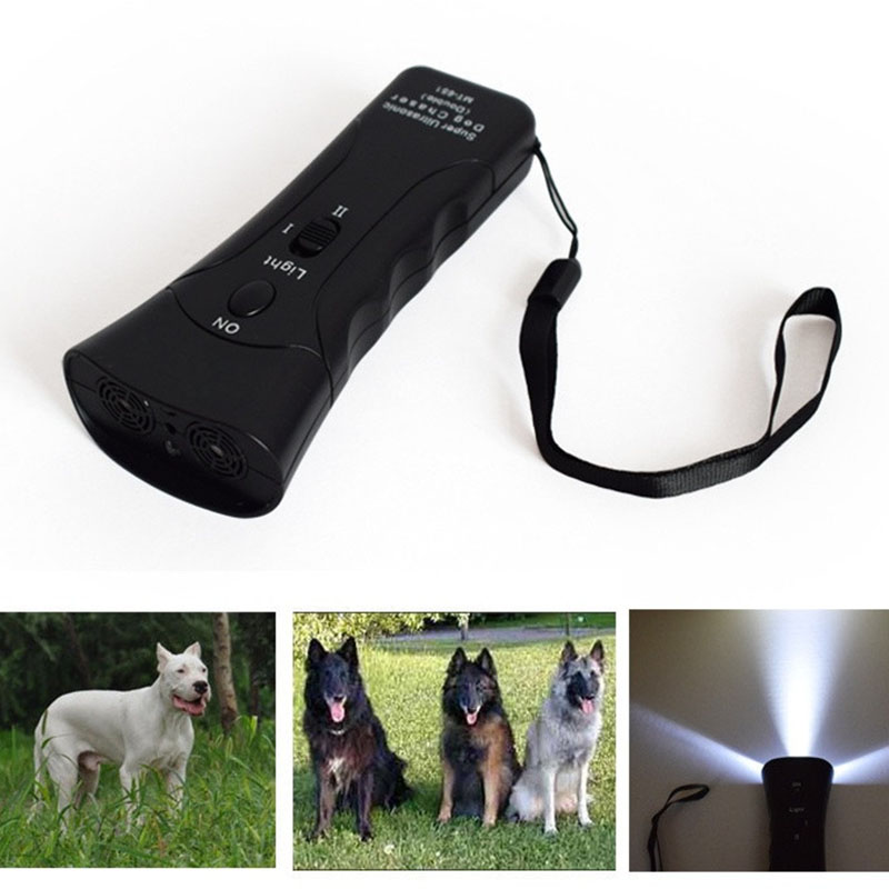 Portátil multifunción gato perro ultrasónico Chaser entrenamiento plástico linterna LED parada aminal ataques disuasión Repeller-M25