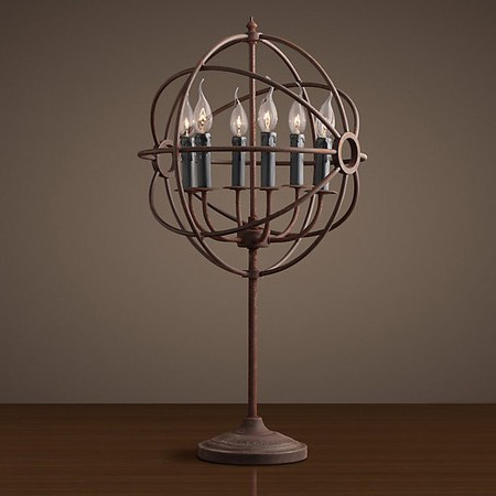 American Wrought Iron Table Lamp Antique Armillary Sphere