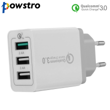 Powstro 3.0 Quick Fast Charger 3-Ports QC3.0 USB Wall Charger Travel Adapter Support Smart Fast Charge For Samsung Galaxy S6