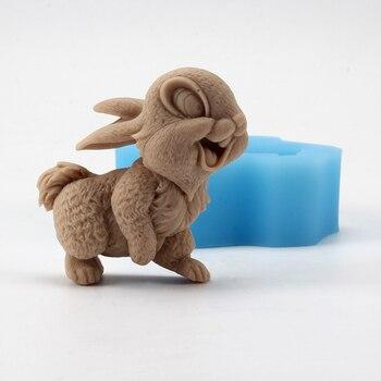 Ręcznie robione formy silikonowe do mydła królik kształt rzemiosła żywicy gliny forma na czekoladki