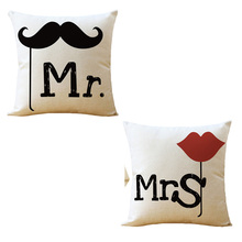 Mr And Mrs Cover Romantic Valentine's Gift Cotton Linen Pillowcase Cushion Cover Home Wedding Decor Romantic Pillow Case