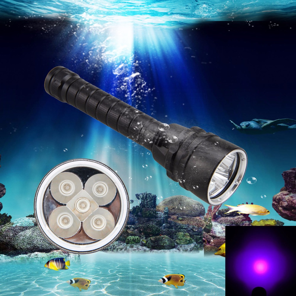 Ultraviolet 365nm-395nm Diving Light Underwater 50m 25W 5 x UV LED Dive Scuba Flashlight Purple Light