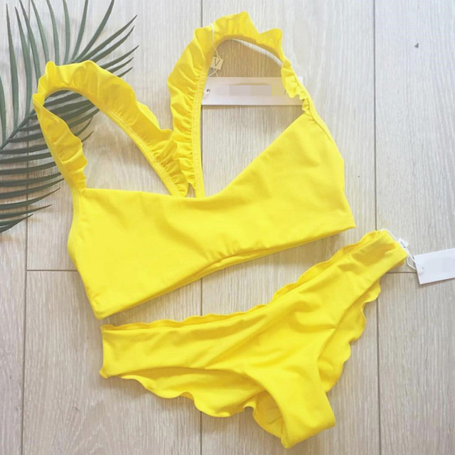 9f0a94b846b99 ladies' swimming suit for women bikini halter swimwear 2019 swimsuit  ruffles costume sexy swimwear yellow bikini thong suit bath