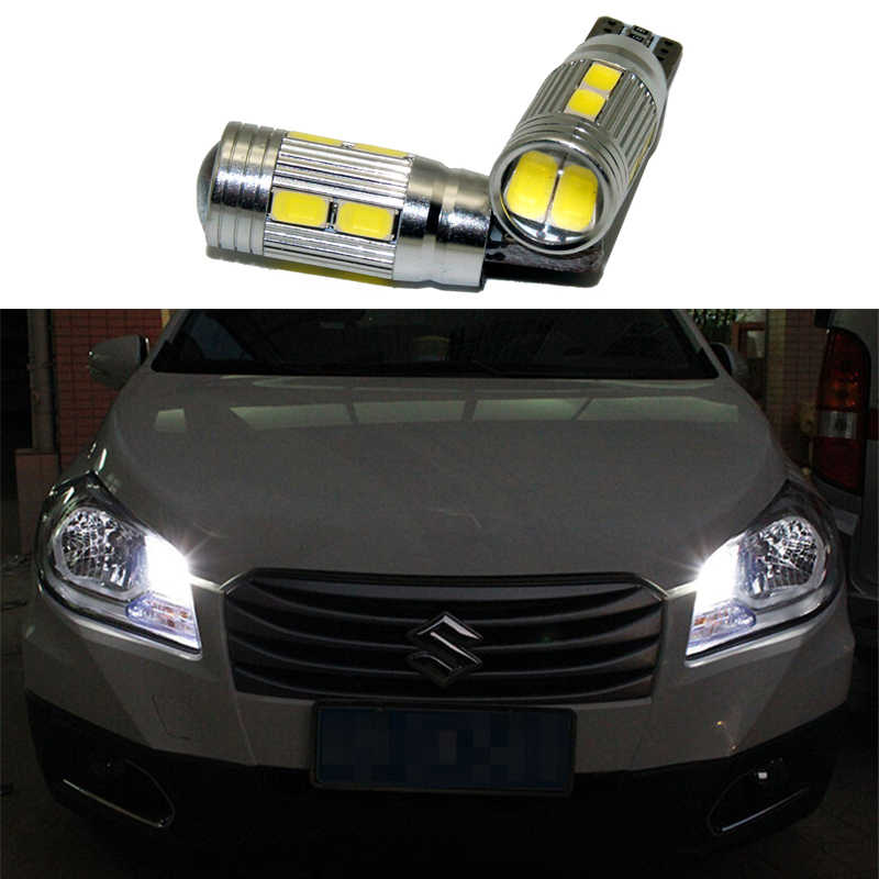 2x T10 LED W5W Car LED Auto Lamp 12V Clearance Parking Light bulbs with Projector Lens For Suzuki grand vitara swift sx4 Equator