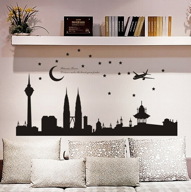 free shipping home decor malaysia petronas twin towers moon and stars bedroomparlour background wall