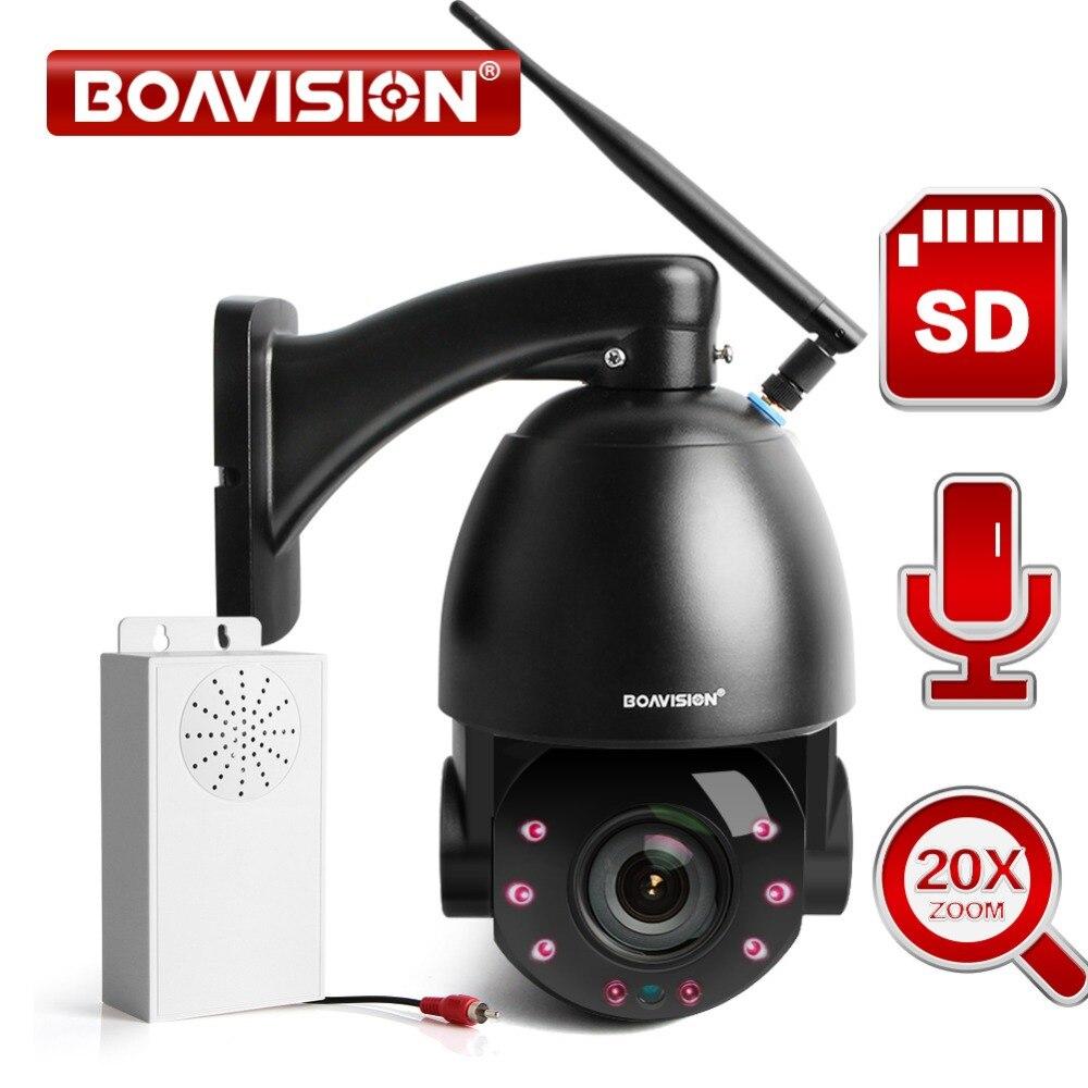 1080P 20X Zoom Óptico Dome PTZ Câmera IP Sem Fio WI-FI Ao Ar Livre Câmera de Segurança CCTV Vídeo Áudio Speaker 80m IR PTZ IP 25fps Cam