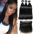 Brazillian Straight Hair With Closure Full Lace Frontal Closure Free Part With Bundles 13x4 Lace Frontal With Bundles Straight