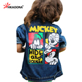 2016 New Spring Autumn Boys Girls Kids Cowboy Jacket Cartoon Lovely Mouse Denim Top Button Costume Outfits Jean Coat Clothes