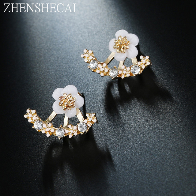 Flower Crystals Stud Earrings for Women Rose gold color Double Sided Fashion Jewelry Earrings female Ear brincos Pending E0384