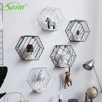 Saim Nordic Storage Shelf Wall Decoration Vintage Metal Iron Sundries Storage Rack Decorative Wall Shelves Organizador Holder