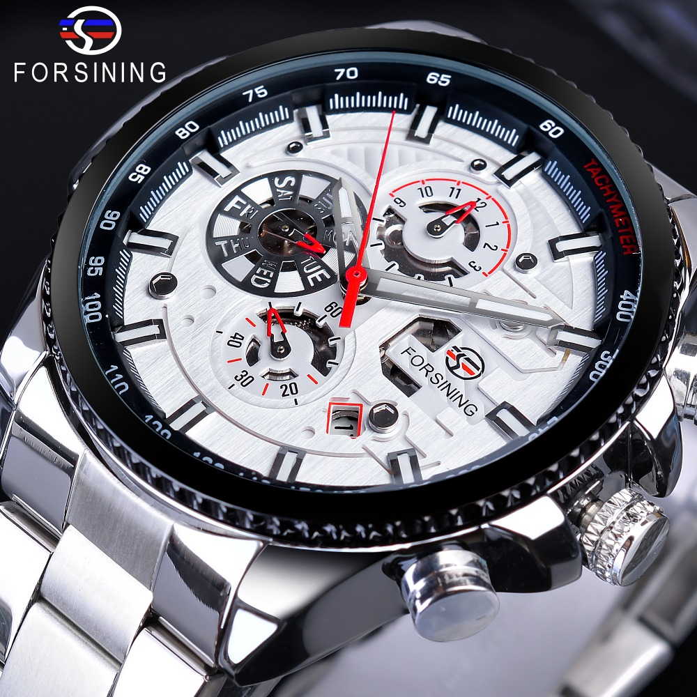 Forsining 3 Dial Sport Fashion Racing Designer Multifunction Calendar Luminous Hands Mens Automatic Wrist Watch Top Brand LuxuryForsining 3 Dial Sport Fashion Racing Designer Multifunction Calendar Luminous Hands Mens Automatic Wrist Watch Top Brand Luxury