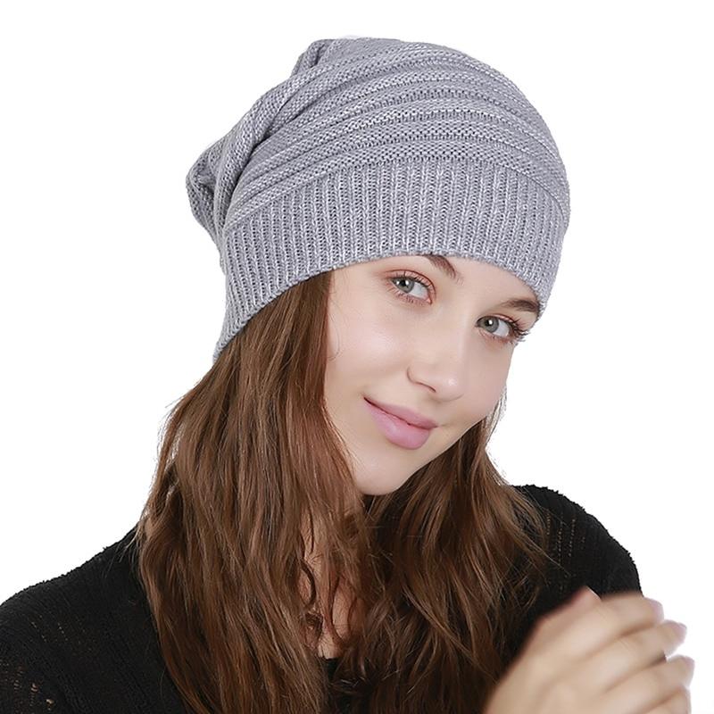 Warm Winter Women Hat Acrylic Soft Rabbit Double Knitting Thick Bonnet   Beanie   Caps Solid Hats Cap   Skullies     Beanies   Female Hat