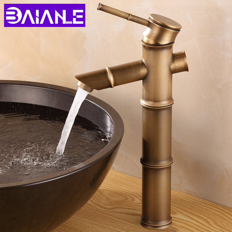 Bathroom Faucet Antique Brass Basin Sink Faucet Waterfall Luxury Tall Bamboo Hot Cold Mixer Water Tap Single Hole 2 Pipe WC Taps