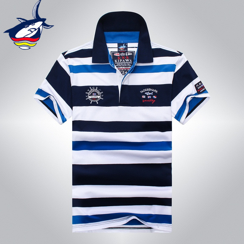 2018 νέα μόδα υψηλής ποιότητας ανδρών κοντό μανίκι βαμβάκι ριγέ καρχαρία καρχαρία T, αρσενικό άνετο δροσερό καρχαρία T-shirts 903
