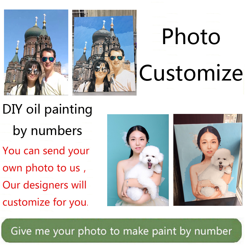 Wow! Painting by Numbers for portrait wedding family Pet photos custom digital painting coloring by numbers on canvas paints
