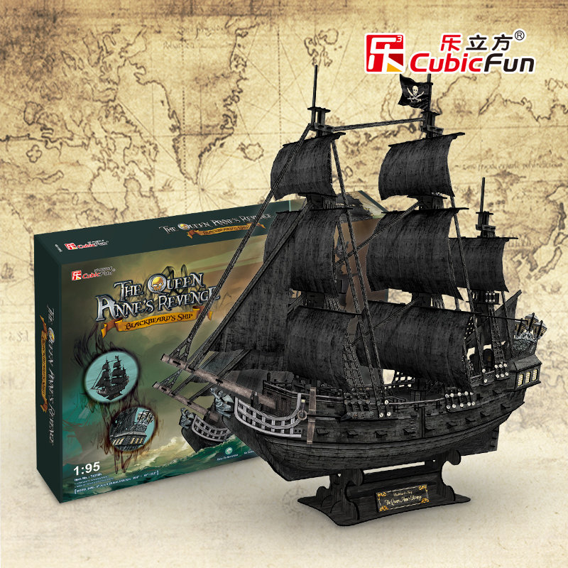 Cubicfun 3D paper model DIY toy birthday gift puzzle the Queen Anne's revenge Black Pearl Pirates of Caribbean boat ship 1:95 led 3d puzzle toys l503h empire state building models cubicfun diy puzzle 3d toy models handmade paper puzzles for children