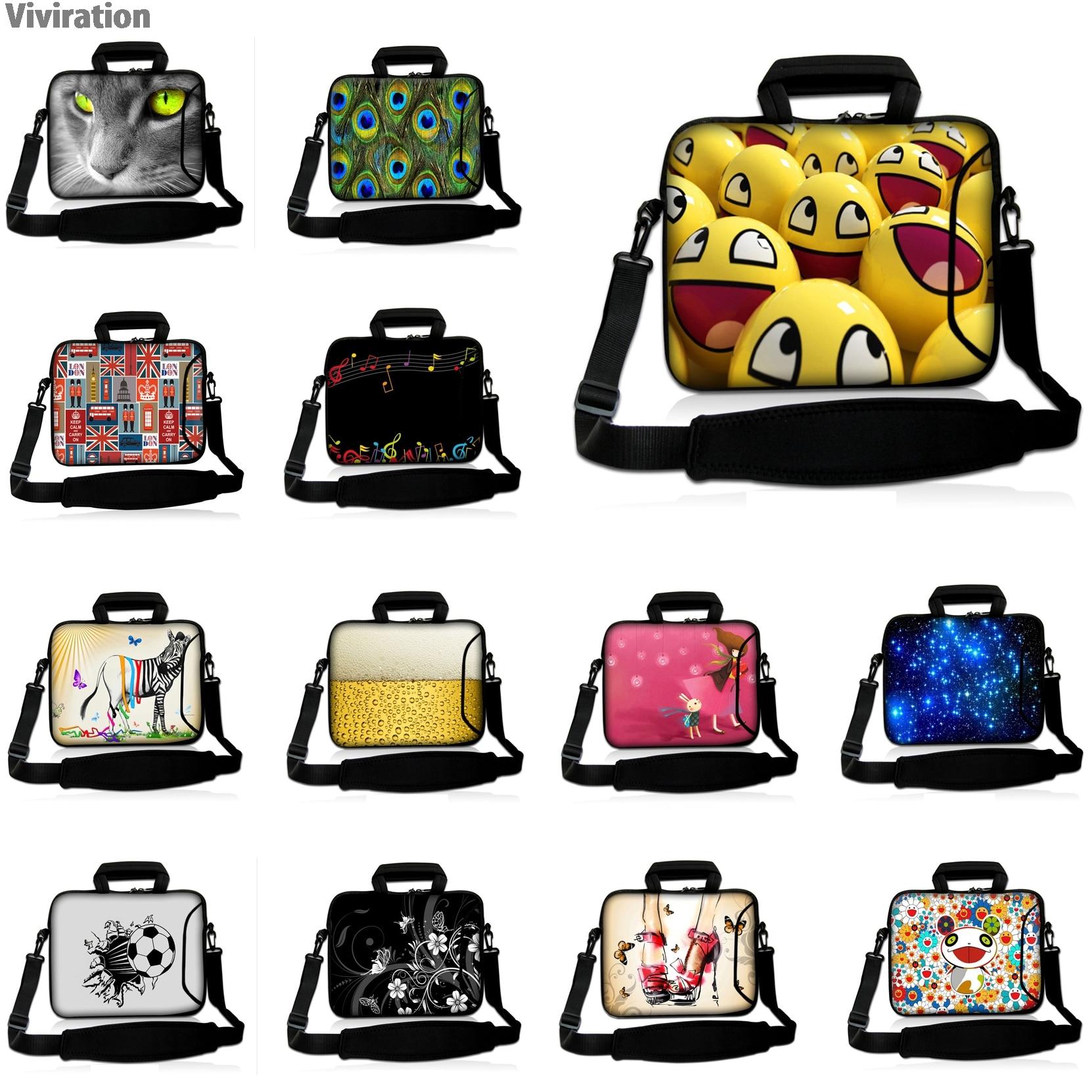Viviration Waterproof Neoprene Multi-size Colorful Bag Women Mens Handle 10/12/13/14/15/17 Laptop Notebook Messenger Case +Strap