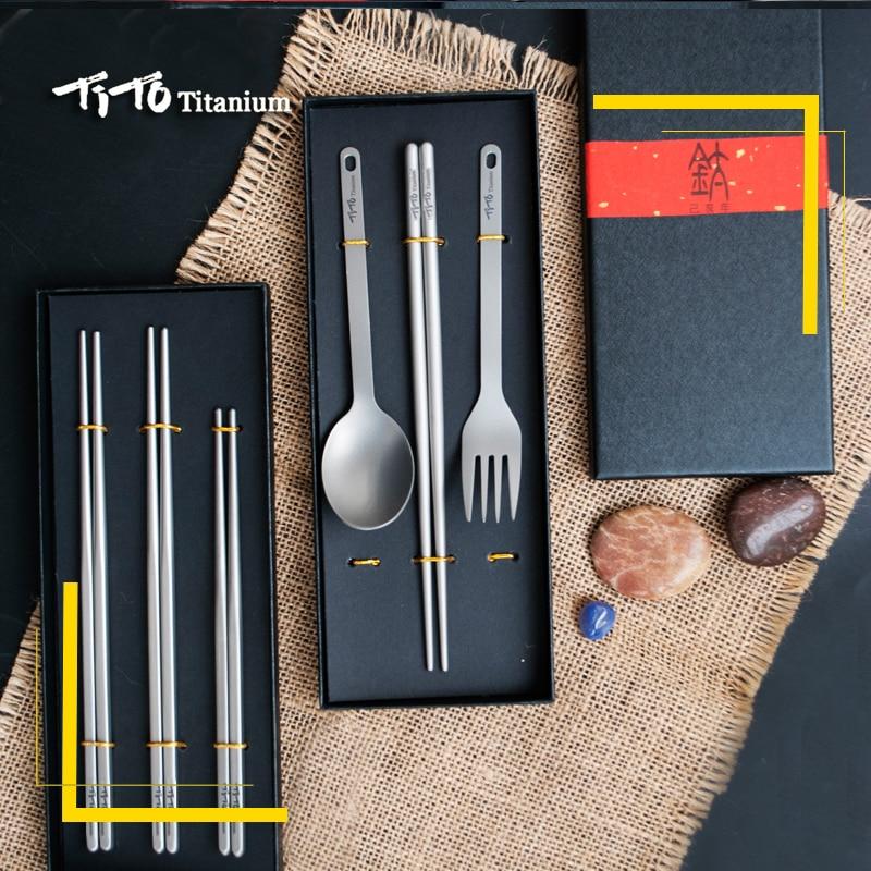 TiTo Gift Package Titanium Chopsticks Spoon With Fork Or Titanium Straw Family Outdoor Dual-use Titanium Alloy Chopsticks