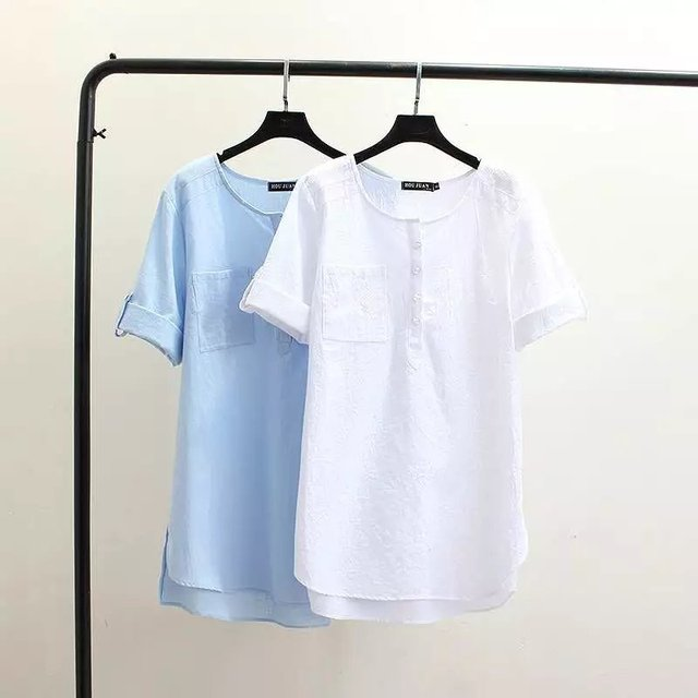 3XL solte bolso T-camisa de linho de algodão das mulheres para o verão 2016 mulher cor sólida branco plus size T-shirtsXXL tshirts