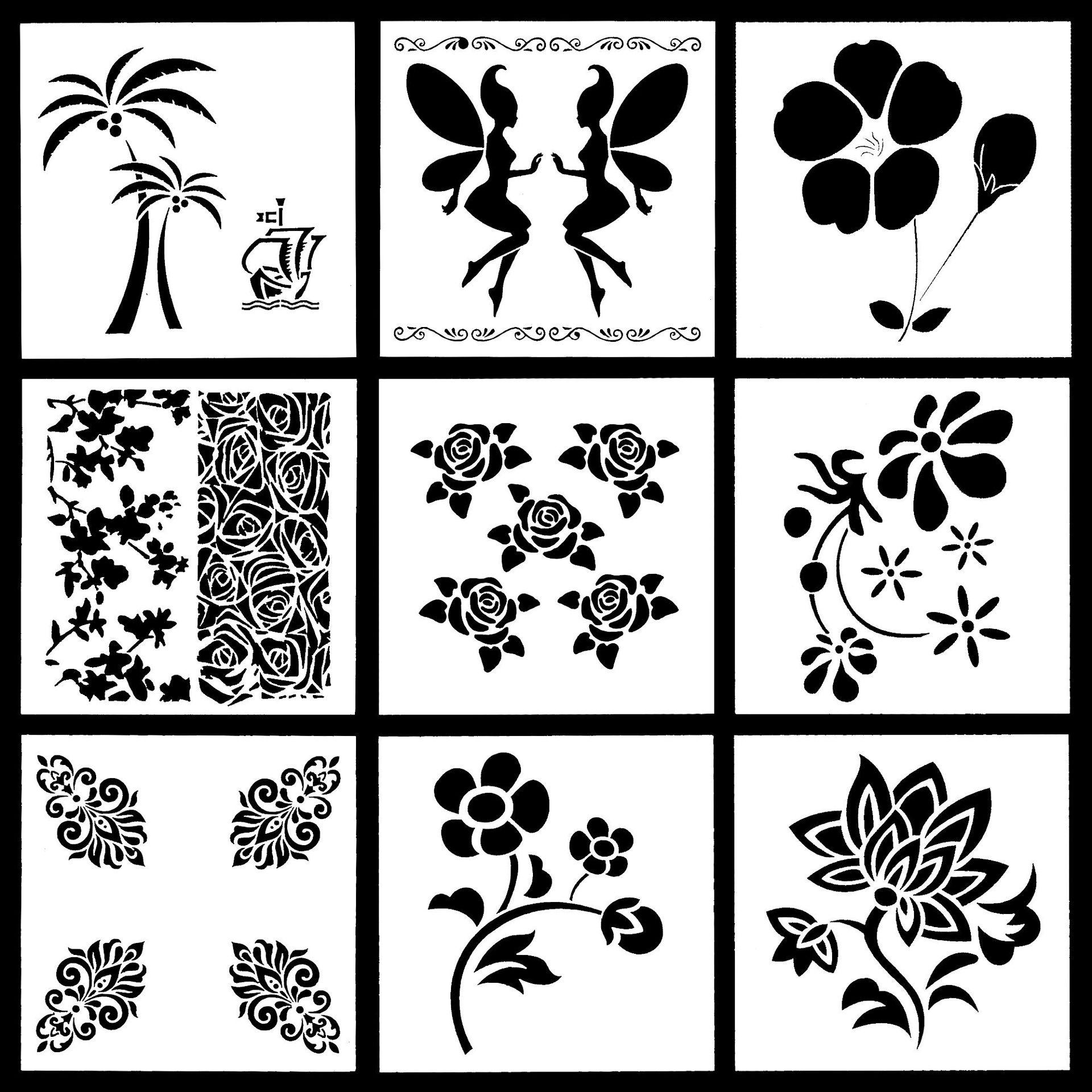 9Pcs/Set 13cm Fairy Girl Tree Flower DIY Layering Stencils Painting Scrapbook Coloring Embossing Album Decorative Template