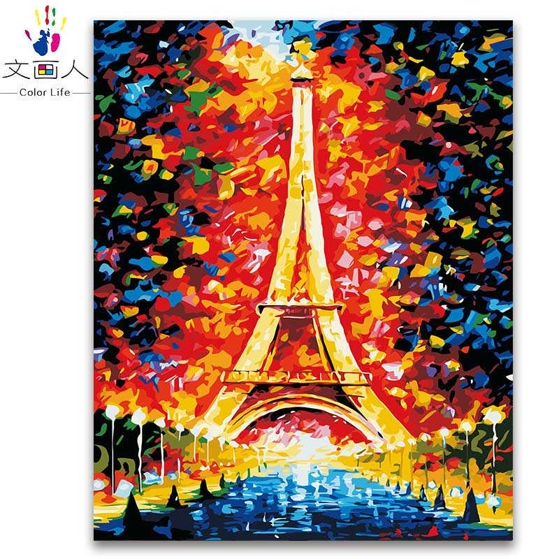 Colorful Rooms With A View: Colorful Paris Tower Night View Painting By Numbers For