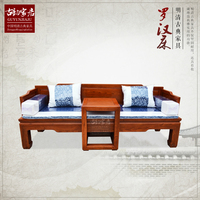 Luo Hanchuang Chinese rosewood wood bed of antique Ming and Qing furniture living room carved arhat bed two pieces