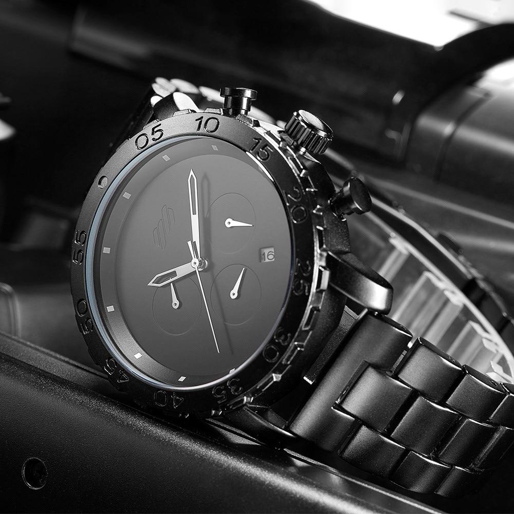 7c90c5b0982 SINOBI Men s Sports Watches Black Stainless Steel Waterproof Business  Wristwatch Chronograph Quartz Watch Relogio Masculino
