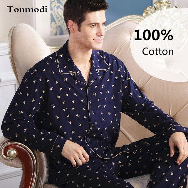 Пижамы Мужчин Хлопка С Длинными рукавами Трикотажные Сна Весна И Осень Мужская Пижама Lounge Мужчины Пижамы Установить плюс размер 4XL