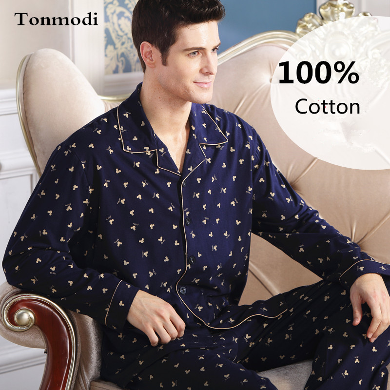 Pajamas Men Cotton  Long-sleeve Knitted Sleep Spring And Autumn Mens Pyjamas Lounge Men Pajama Set Plus Size 4XL