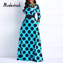 Modecrush Women Casual Hollow Out Polka Dot Print Maxi Dress 2019 Vintage Long Sleeve Slim Elegant Party Dresses Vestidos