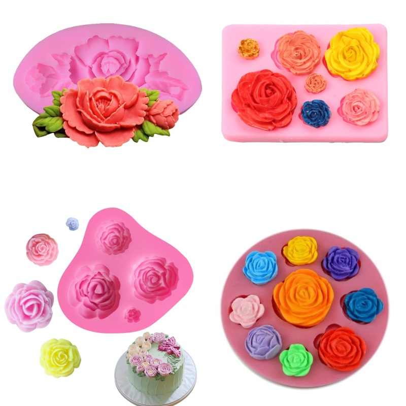 1 Pcs Rose Flowers Shaped Silicone Mold Cake Decorating Tools Fondant Chocolate Baking Molds Mastic Confectionery Accessories