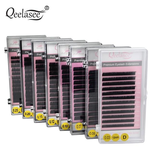 Qeelasee 20 sztuk/partia mink przedłużanie rzęs fałszywe rzęsy fałszywe indywidualne rzęsy premium mink rzęsy rzęsy makijaż rzęsy