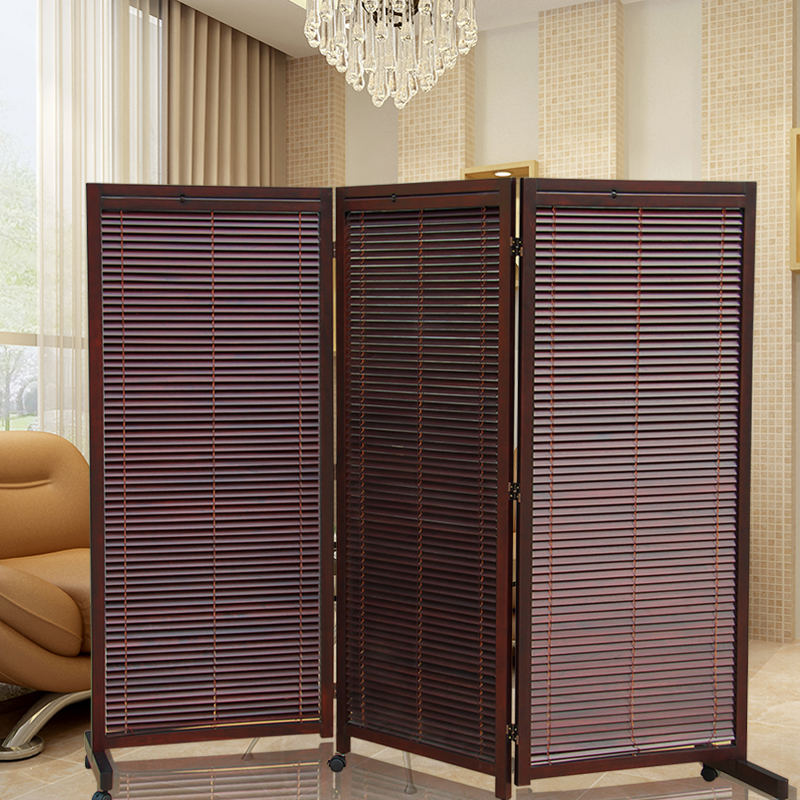 Wood folding screens room dividers with caster japanese - Paneles separadores de ambientes ikea ...