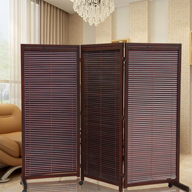 Wood Folding Screens Room Dividers With Caster Japanese