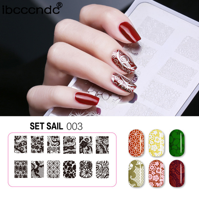 2018 New Rectangle Nail Stamping Plate Lace Flower Christmas Design