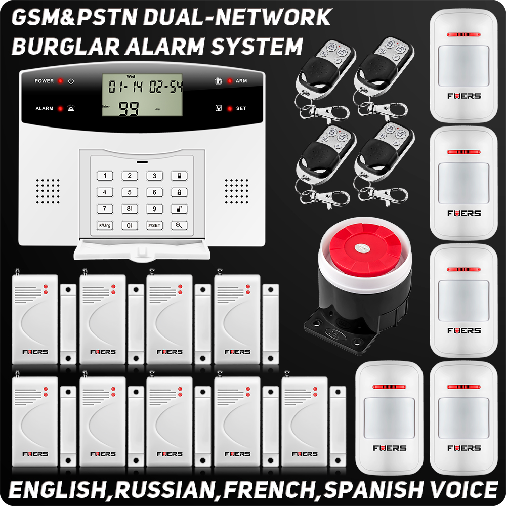 Wireless Wired GSM PSTN Home Alarm System Quad Band 99 Zones House Security Voice Burglar Alarm Intelligent Motion Sensor fuers quad band gsm pstn burglar alarm security system wireless app control high grade door sensor motion detector home alarm